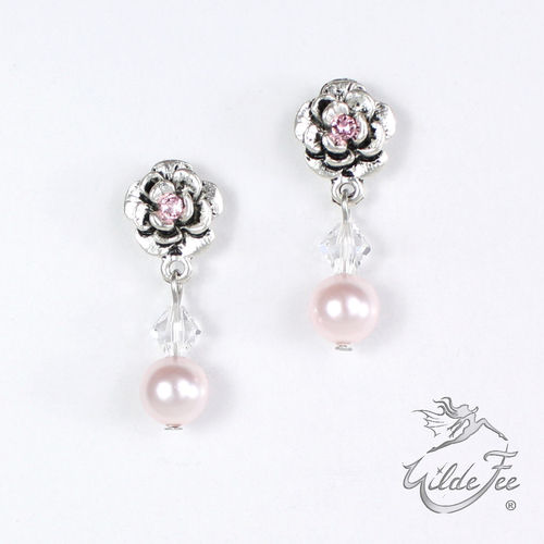 Ohrringe PEARLS AND ROSES rosa