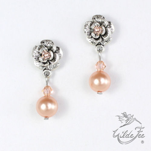Ohrringe PEARLS AND ROSES apricot