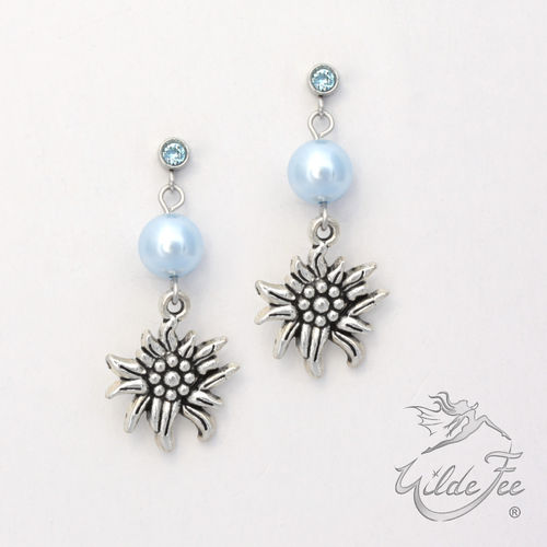 Ohrringe PEARLS AND CHARMS Edelweiß blau