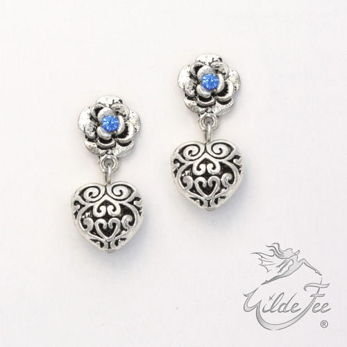Ohrringe ROSES AND CHARMS 3D Herzerl blau