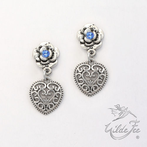 Ohrringe ROSES AND CHARMS Herzerl blau