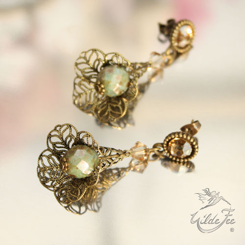 Ohrringe VINTAGE-LINE Lace Golden Green